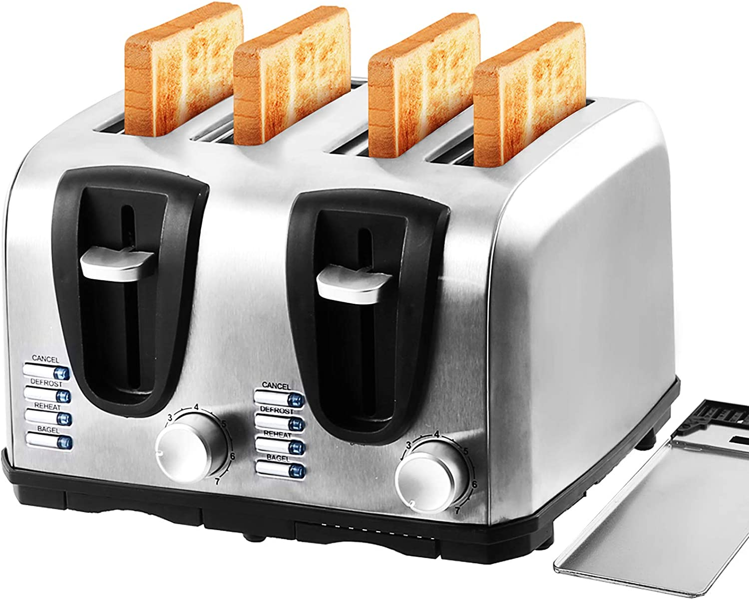 2/4-Slice Extre Wide Slot Toaster,Stainless Steel with Bagel,Cancel,Reheat,Defrost Function,7 Bread Shade Settings and Removable Crumb Tray 1200-1400W Silver.
