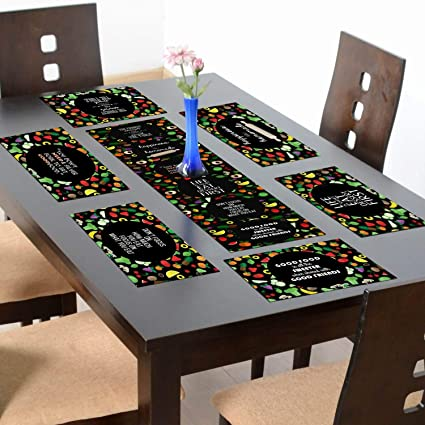 YaYa cafe Happiness is Homemade Eat Right Feel Amazing Printed Table Runner with 6 Mats
