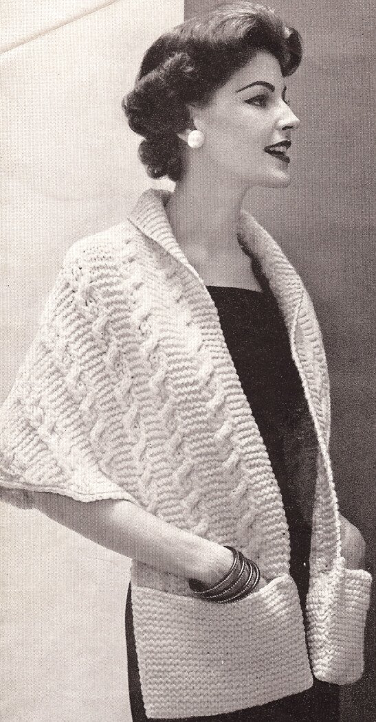 1950s Fabrics & Colors in Fashion Vintage Knitting PATTERN to make - Knitted Warm Shawl Wrap Pockets. NOT a finished item. This is a pattern and/or instructions to make the item only. $7.99 AT vintagedancer.com