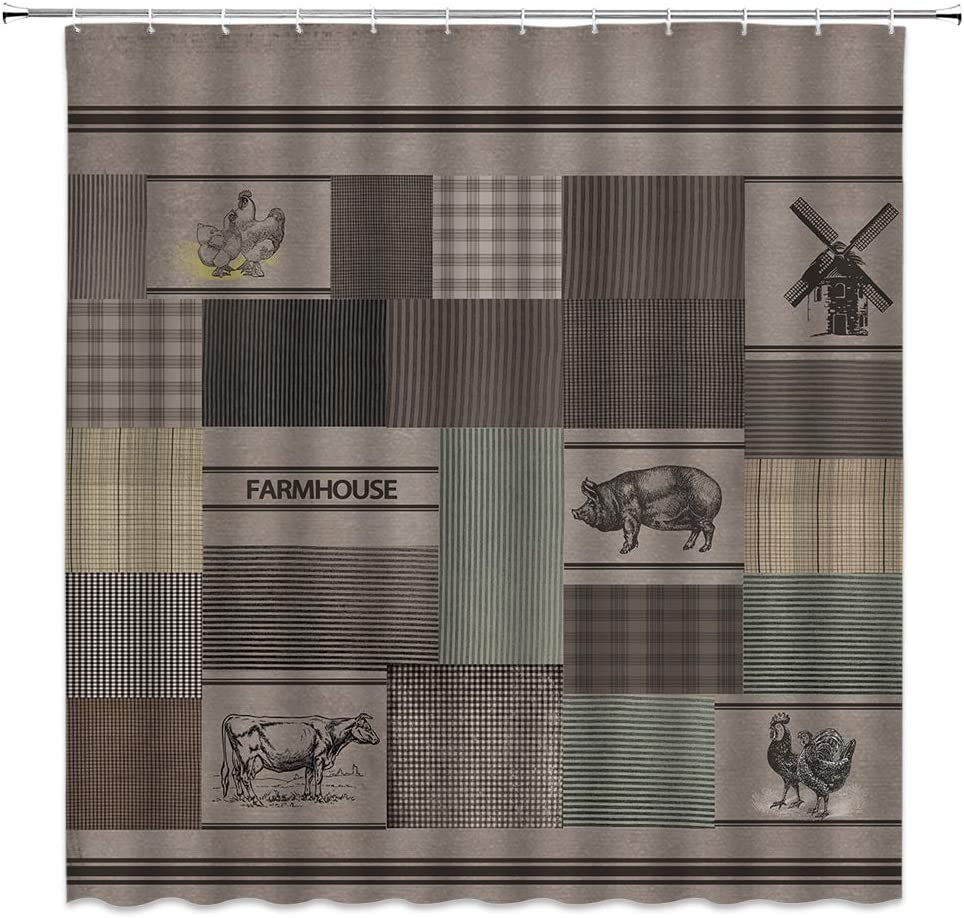 Farmhouse Shower Curtain Decor Tan Rustic Farm Life Animals Poultry Chicken Pig Cow Buffalo Plaid Charcoal Grey Fabric Bath Curtains Bathroom Accessories Polyester with Plastic Hooks 70x70 Inch