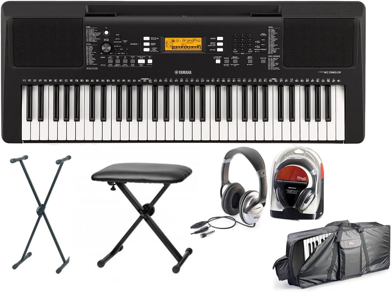 Yamaha 363 Keyboard Set III con soporte, banco, funda y auriculares