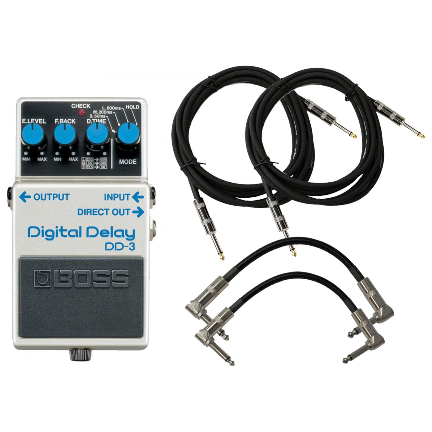 BOSS DD-3 Digital Delay Pedal Bundle w/4 Cables