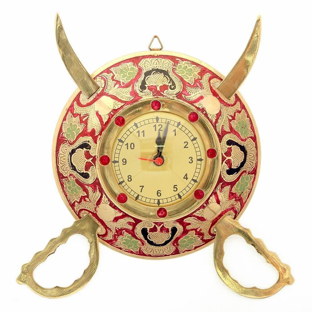 Little India Rajasthani Real Brass Sword Armour Wall Clock -107