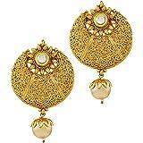 Apara Reeva Gold Zinc Hoop Drop Earring For Women
