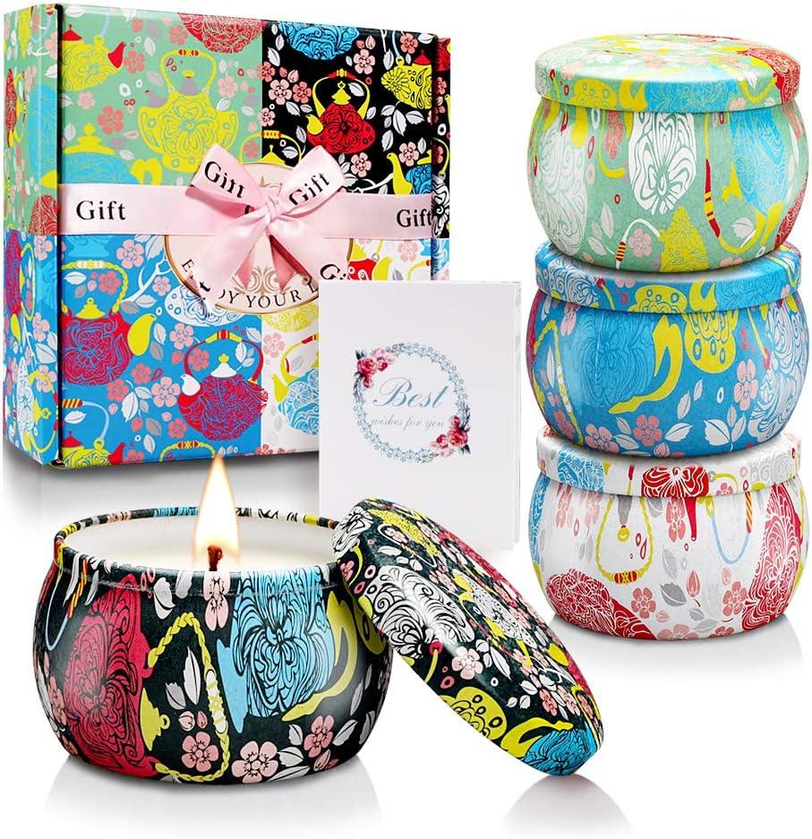 Yinuo Candle Vela Aromáticas Velas Perfumadas Caja de Regalo 4 Latas, Cera de Soja, Duración de 30 Horas, 4.4oz, con Tarjeta de Felicitación