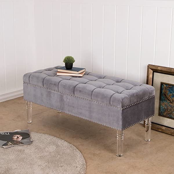 "Glitzhome 44.88"" Luxurious Tufted Upholstered Storage Ottoman Foot Stools Seat with Acrylic Legs Bedroom Furniture, Grey"