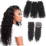 MORICHY Brazilian Deep Wave Bundles with Closure 7A Virgin Hair 3 part Closure with bleached knots Unprocessed Human Hair Deep Curly Bundles