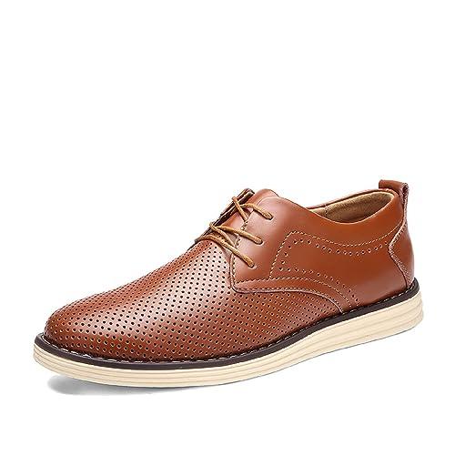 H-Mastery Zapatos de Cuero Hombre para Vestir,Oxford con Cordones Brogue Casual Derby
