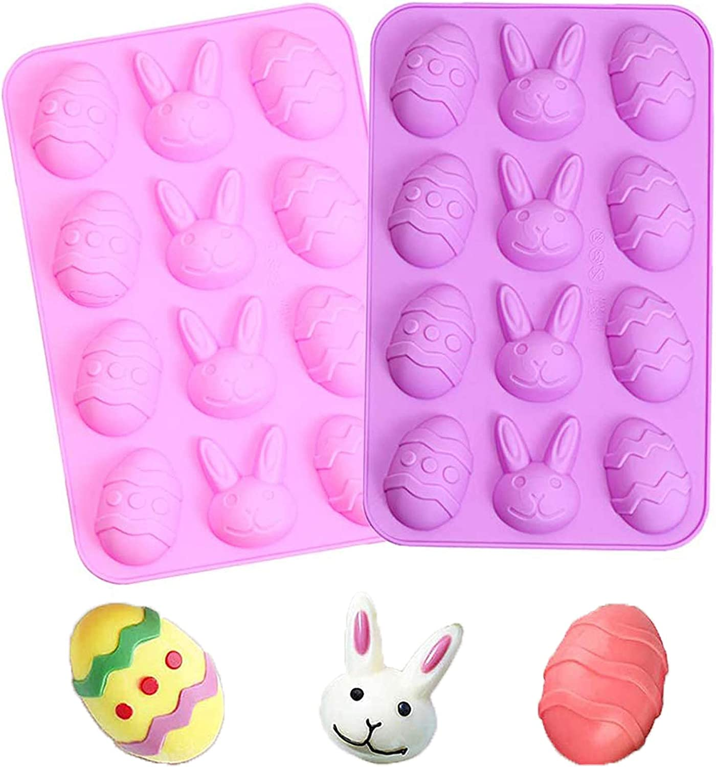 Easter Bunny Shaped Silicone Chocolate Lollipops Mold, Baking Molds for Candy Mini Soap, Lollipops Cake Bread Cupcake Cheesecake Muffin and Jello