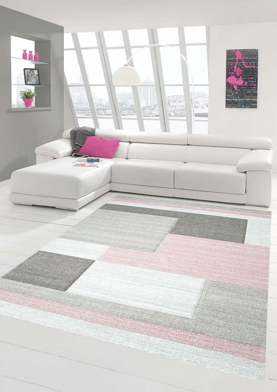 Traum Sala de Estar dise/ñador Alfombra Alfombra contempor/ánea alfombras de Pelo bajo con Colores patr/ón de Diamantes de Recorte de Contorno de Color Rosa Pastel Crema Beige Gr/ö/ße 60x110 cm