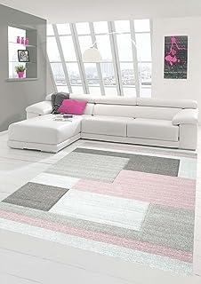 Traum Teppich Designerteppich Moderner Teppich Wohnzimmerteppich Kurzflor  Teppich Mit Konturenschnitt Karo Muster Pastellfarben Rosa Beige,