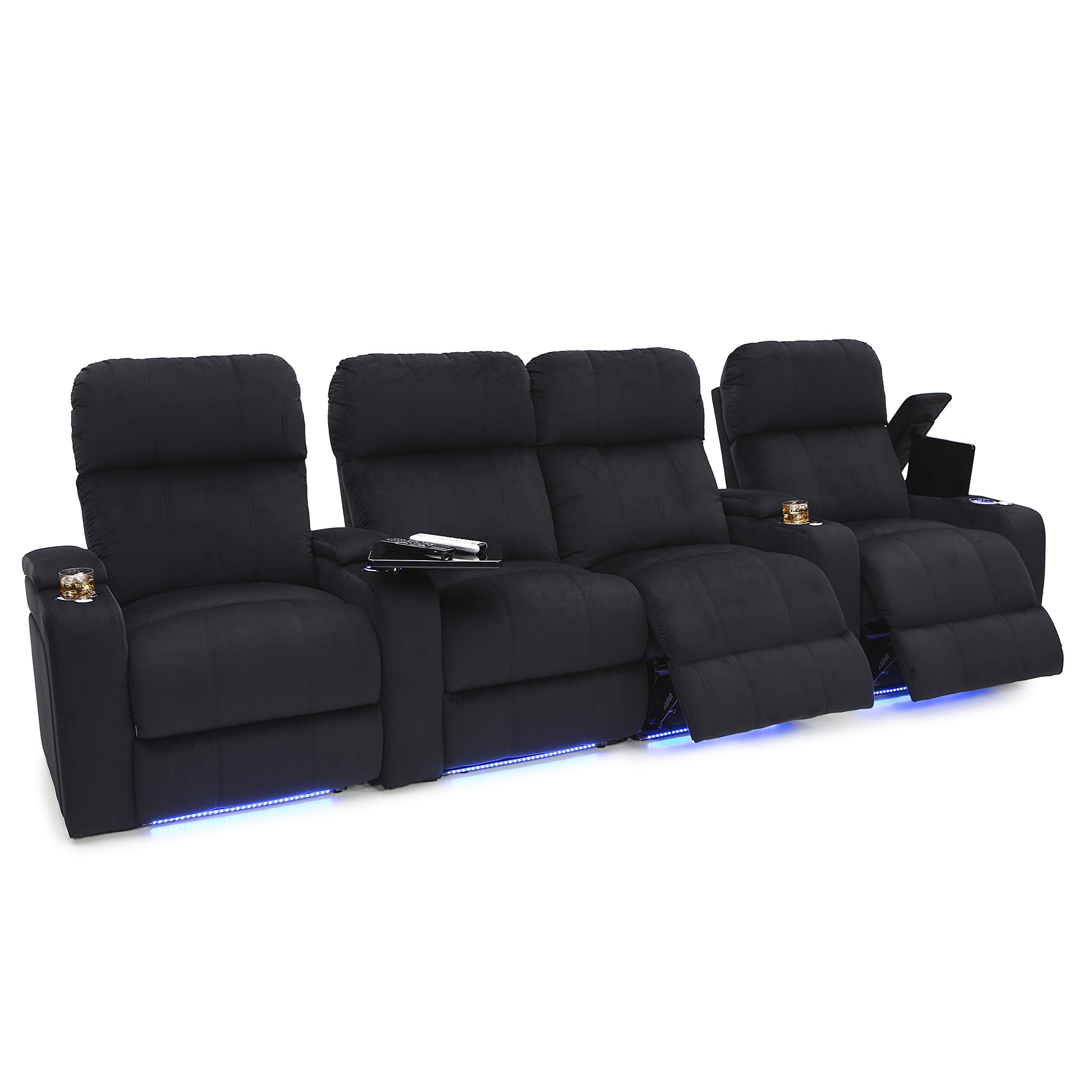 Seatcraft Bonita Home Theater Seating Bella Fabric Power Recline with Powered Headrest, in-Arm Storage, USB Charging, Tray Tables, Lighted Cup Holders and Base, Row of 4 Middle Loveseat, Black by Seatcraft
