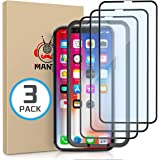 MANTO 3-Pack Screen Protector for iPhone 11 Pro and iPhone Xs X 5.8 Inch Full Coverage Tempered Glass Film Edge to Edge Prote