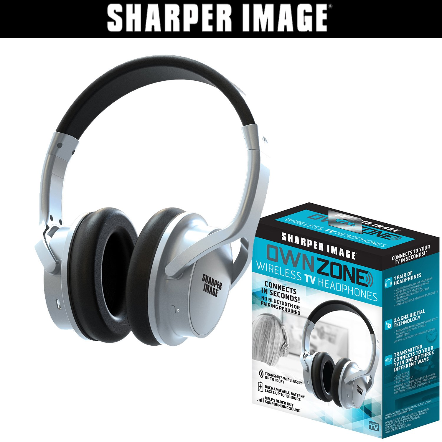 Sharper Image OWN ZONE Wireless Rechargeable TV Headphones- RF Connection, 2.4 GHz, Transmits Wirelessly up to 100ft, No Bluetooth Required,...
