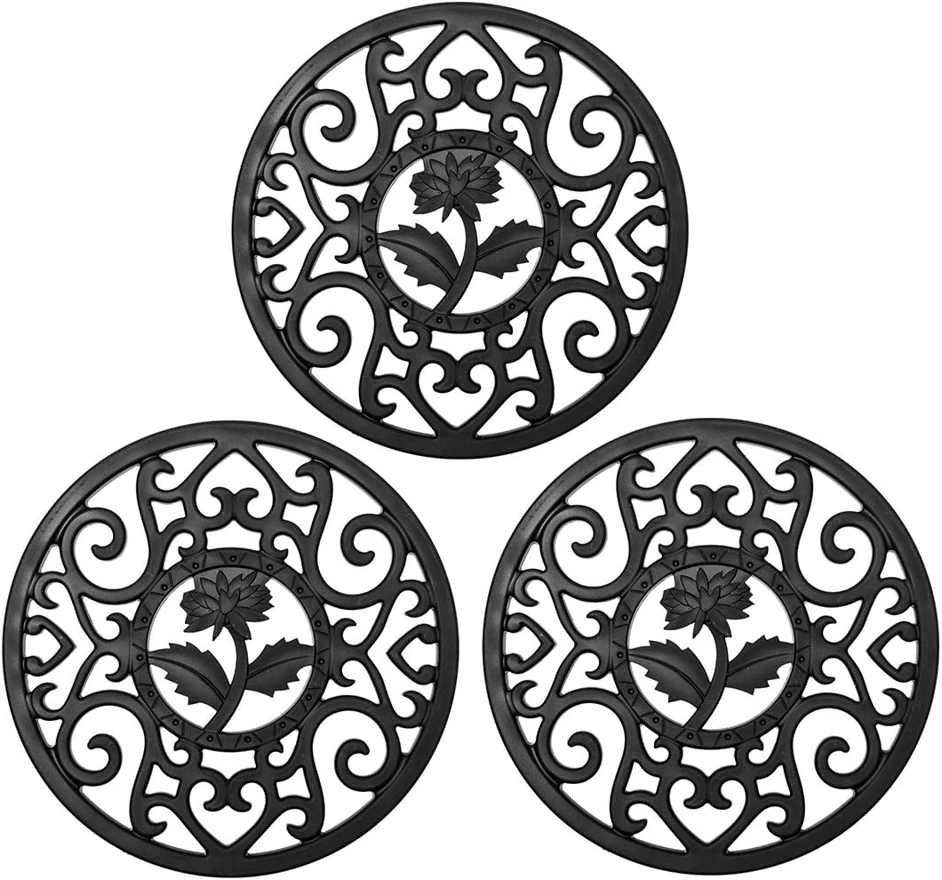 WEIC Thickened Silicone Trivets Mat – Trivets for Hot Dishes Kettle Coffee Pot, 7.1 Inch Hollow Carving Pot Holders, Anti-skid & Heat Insulation,Green, Pack of 3