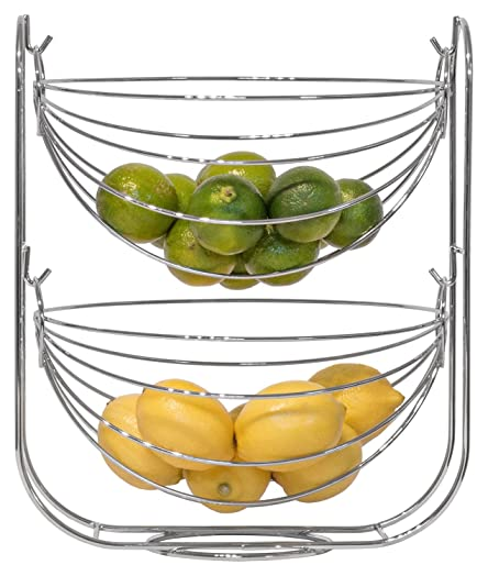 Kitchen Three Tier Hanging Fruit Basket Wire Stand Tiered