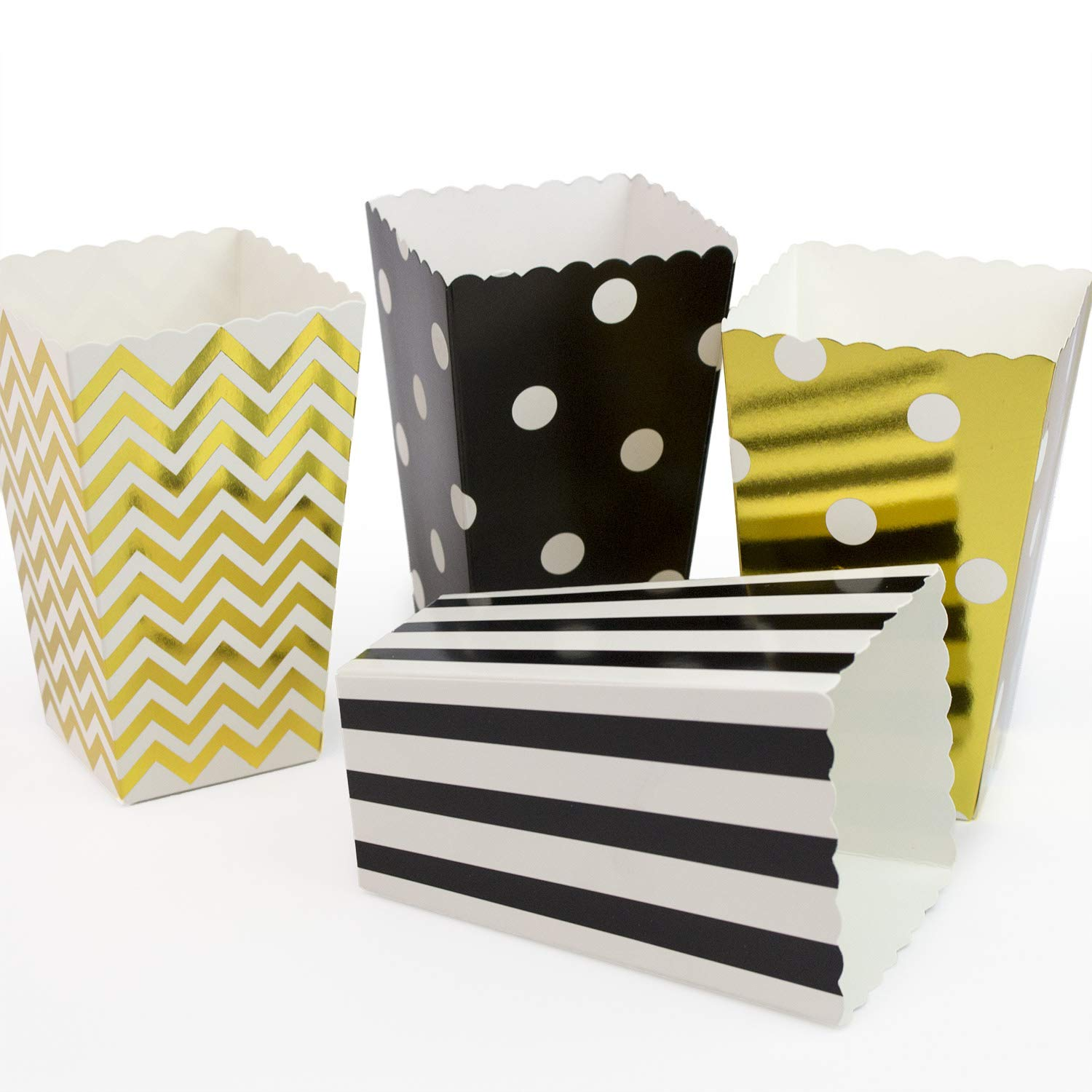 48pcs Popcorn Boxes Gold and Black, Striped, Chevron, Polka Dot Paper Candy Container for Weddings, Birthday Parties,Carnival Party,Baby Showers,Movie Theater