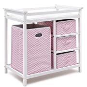 Costzon Baby Changing Table, Diaper Storage Nursery Station with Hamper and 3 Baskets (White+Pink)