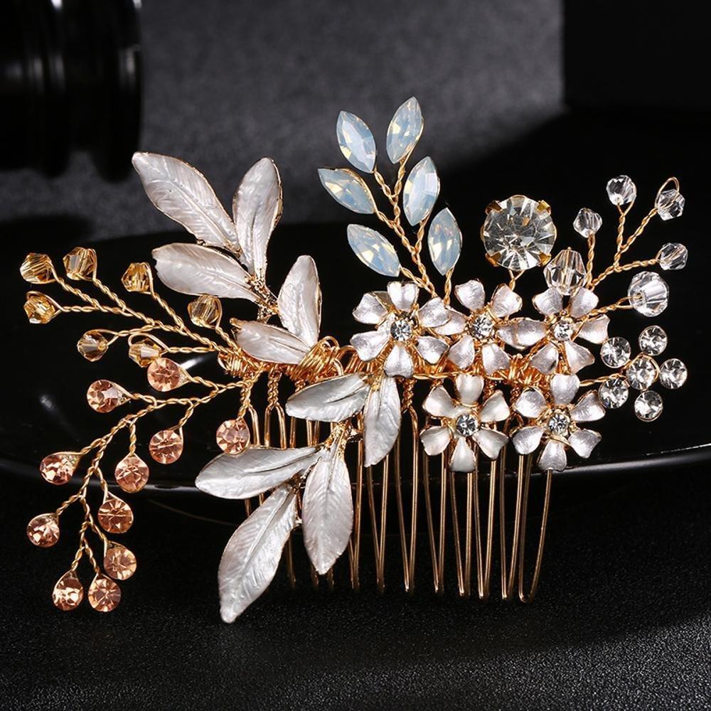 Haixin Luxurious nuziale diamante pettine, pettine di capelli di foglie squisita sposa fatti a mano, due colori possono scegliere