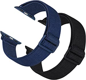 2 Pack Sport Elastic Nylon Compatible with Apple Watch Bands 44mm 42mm, Adjustable Lightweight & Breathable Woven Stretches Strap for iWatch Series 6/5/4/3/2/1/SE Men Women Black/Navy Blue