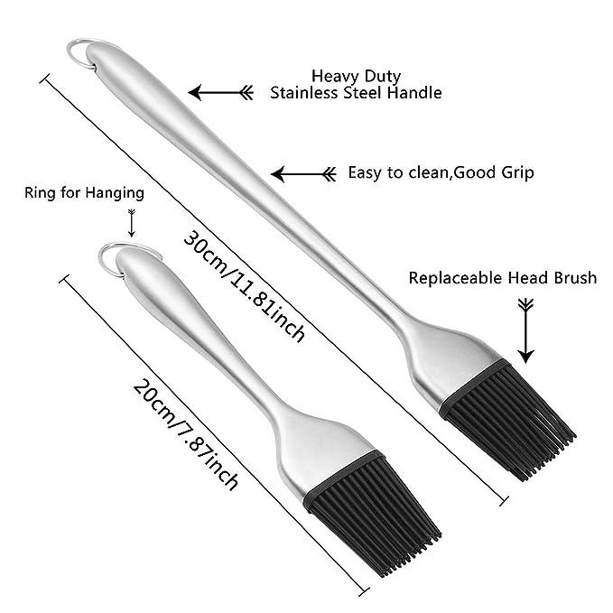 Aolvo - Juego de pinceles de silicona para base de barbacoa, parrilla y repostería (acero inoxidable, mango largo, cerdas de silicona, sin BPA, aprobado por ...