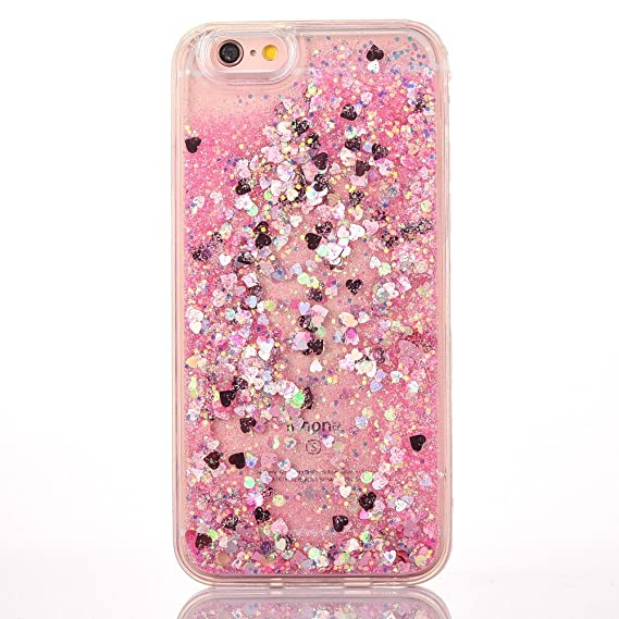 timeless design dedb8 6e7c6 Huawei Honor 8 Liquid Glitter Case, QKKE Quicksand 3D Glitter Bling Hearts  Flowing Liquid Heart Clear Hard Case for Huawei Honor 8 (Pink)