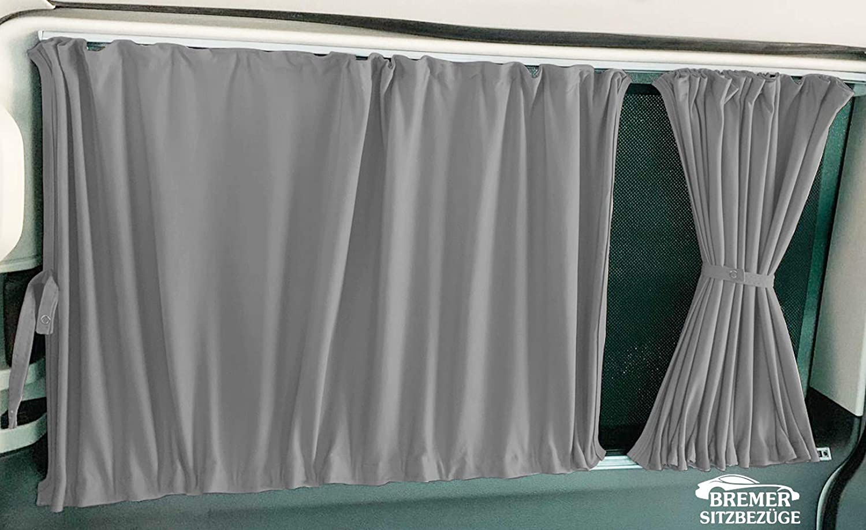 Grau T5 und T6 Transporter kurzer Radstand Ma/ß Gardinen Vorh/änge Sonnenschutz mit Heckklappe Farbe