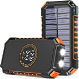 Solar Charger 26800mAh, Riapow Solar Power Bank 4 Outputs USB C Quick Charge Qi Wireless Portable Charger with LED Flashlight