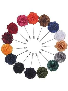 15 Piezas de Broches de Solapa de Hombre Alfileres de Flor de Satén Hechos a Mano con Caja de Regalo para Traje de Novio de Boda, 15 Colores
