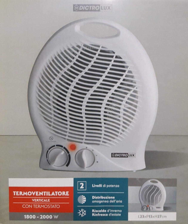 Termoventilatore Caldobagno 2000W Stufa Bagno Termostato Regolabile
