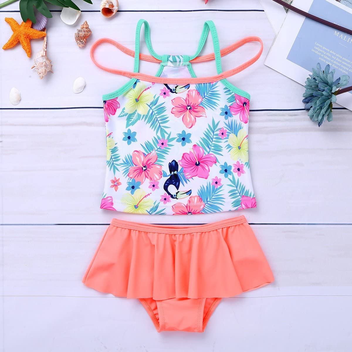 TiaoBug Kids Girls Tankini Flower Straps Swimsuit Swimwear Bathing Suits