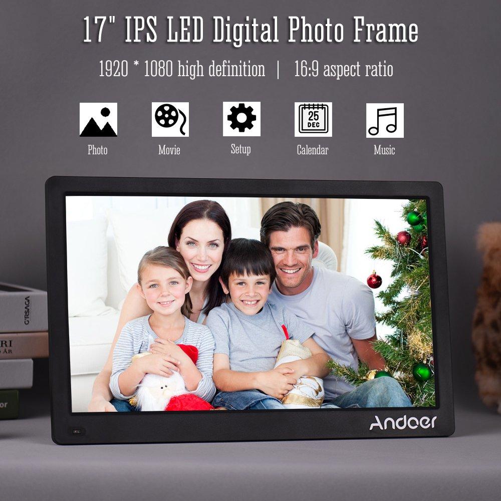 Amazon.com: Andoer 17inch Digital Photo Frame Full View IPS Screen ...