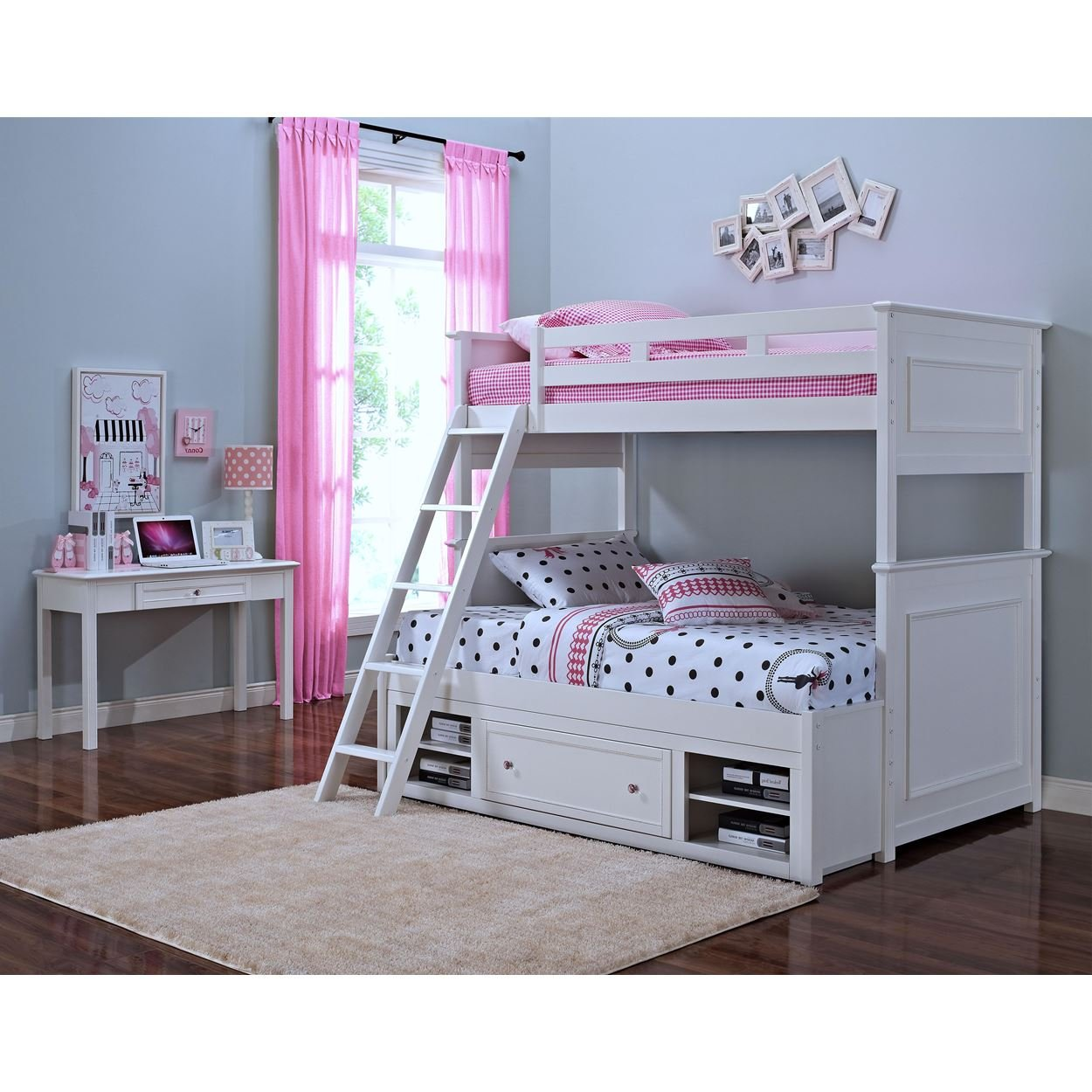 Magnolia Girl's Twin/Twin Bunk with Storage in White