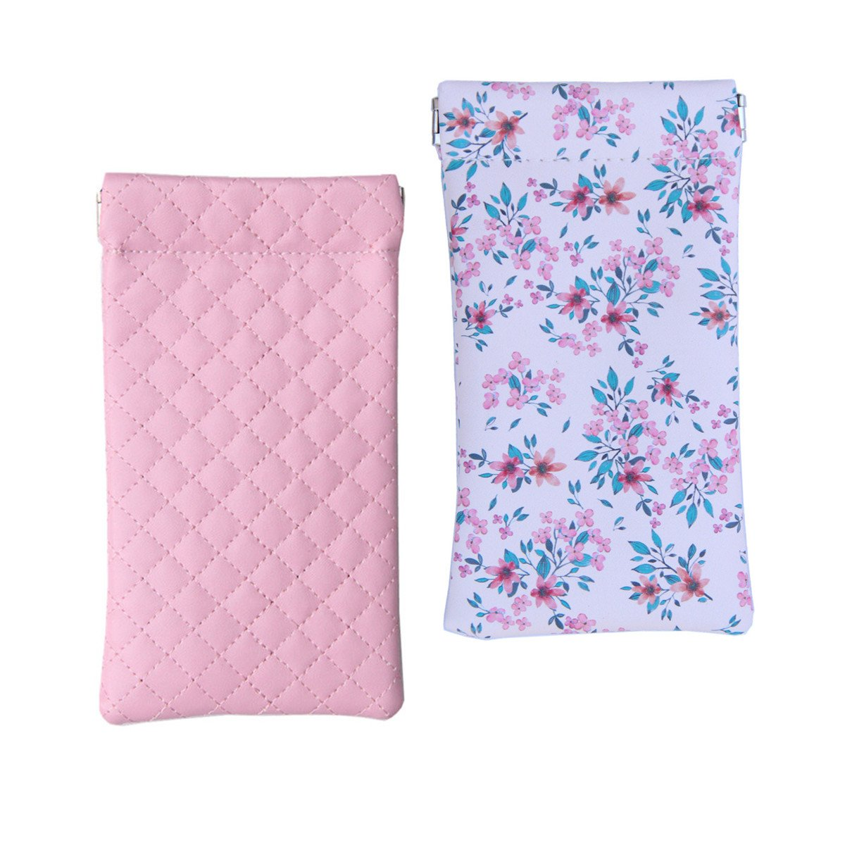 Lucky Leaf Sunglasses Pouch Goggles Case Eyewear Holder Mini Coin Wallet with Cleaning Cloth (Pink Plaid + Pink Folwers)