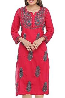 d47b86d1e8 Ada Hand Embroidered Lucknow Chikan Regular Wear Cotton Kurti Kurta  (A411489_Magenta)
