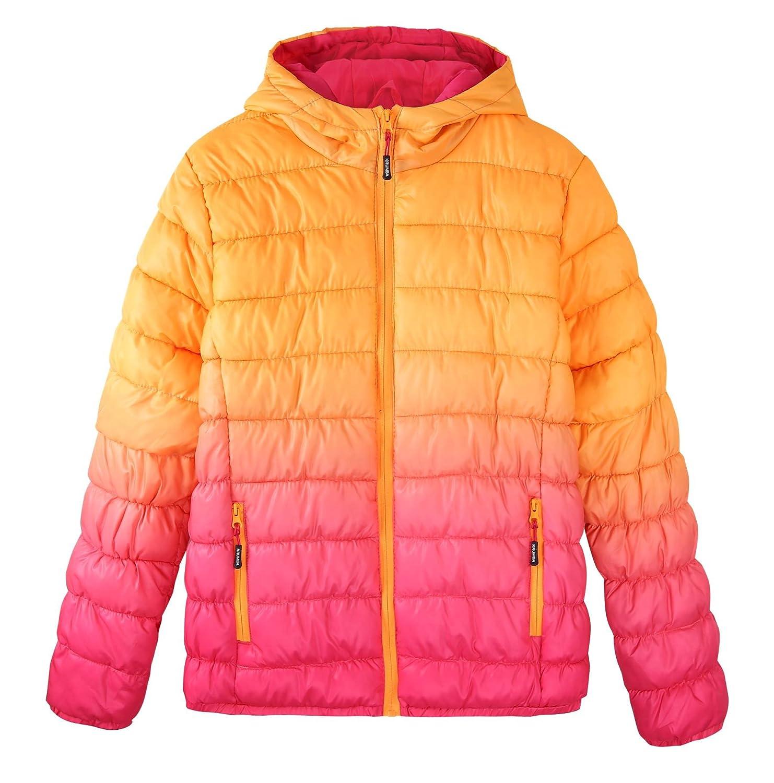 Krumba Girl's Zip Front Gradient Waterproof Dip Dye Fake Down Hooded Puffer Jacket