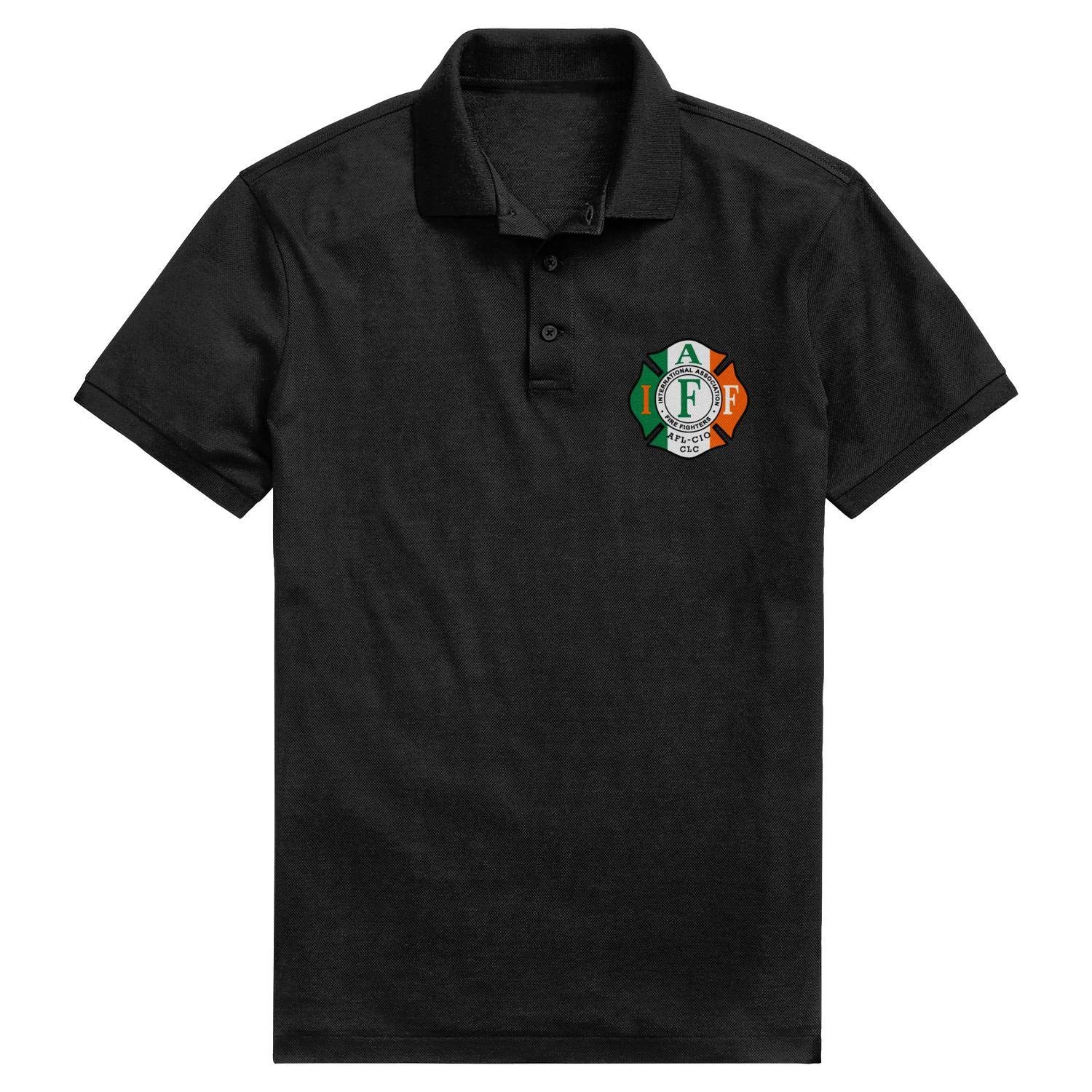 DXQIANG IAFF American Flag Pattern Printed Funny Polo Shirt Party Cotton Shirt Top for Mens