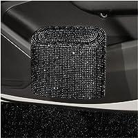 Fashion Car Trash Can Bin with Lid Small Leakproof Mini Vehicle Trash Bin Glitter Trash Bags Garbage Dustbin Organizer…