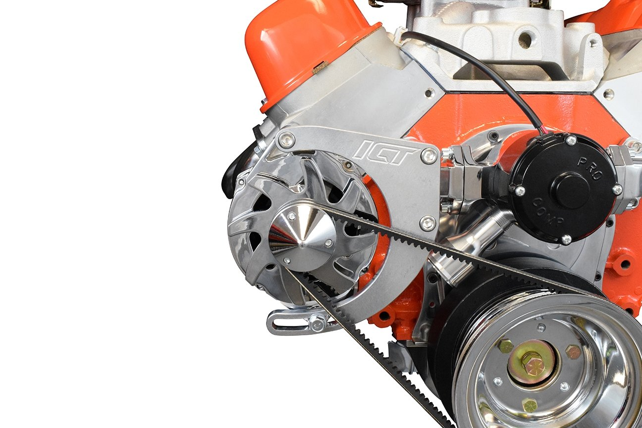 BBC Alternator Bracket Adjustable Electric Water Pump Low Mount Big Block Chevy Long Kit 551449 ICT Billet
