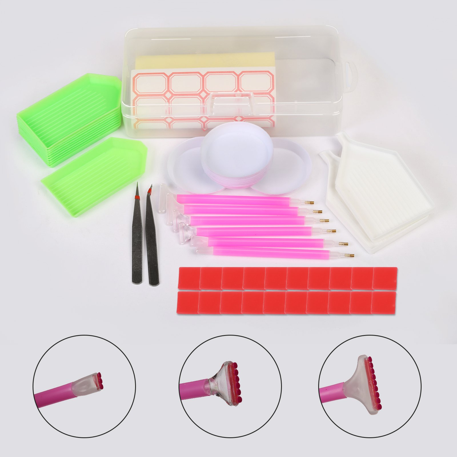 Diamond Painting Kit SEELOK 111 Pcs DIY Cross Stitch Tools Set Embroidery Sewing Accessories with Quick Point Pen,Glue,Plastic Tray,Tweezers,Bags and Storage Box for Adult or Kids