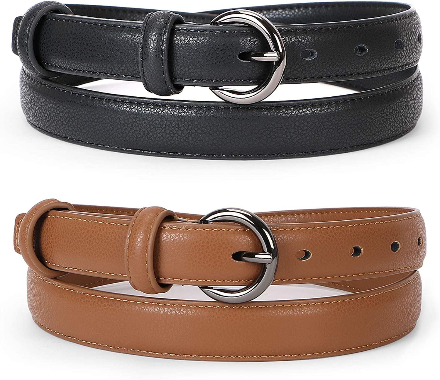 2 Pack Women Leather Belt for Jeans Pants with Exquisite