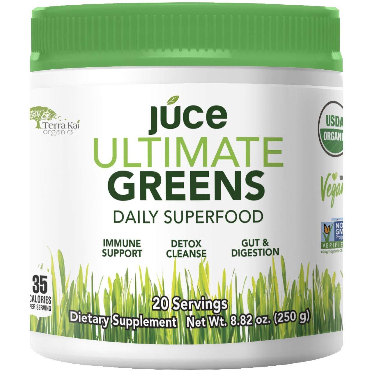 Terra Kai Organics JUCE Greens Superfood Drink Mix, Harvest Apple, 8.82 Ounce