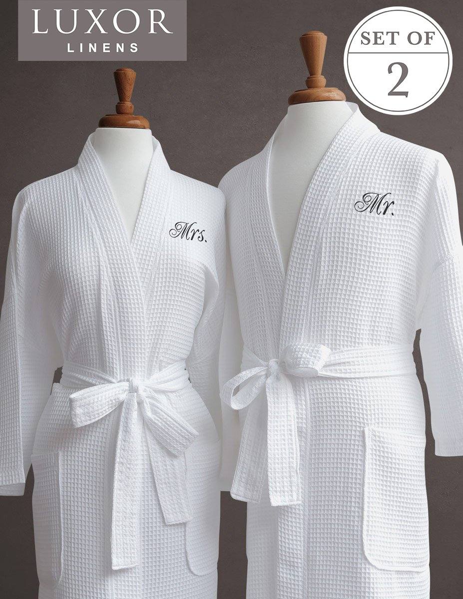 Luxor Linens Egyptian Cotton His & Hers Waffle Robes - Perfect Engagement Gifts! (Mrs. and Mr. Robes, Black Monogram)