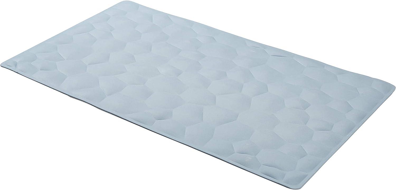 AmazonBasics Non-Slip Rubber Bath Mat with Pebble Texture - Blue, 27.5 x 15.7 Inch