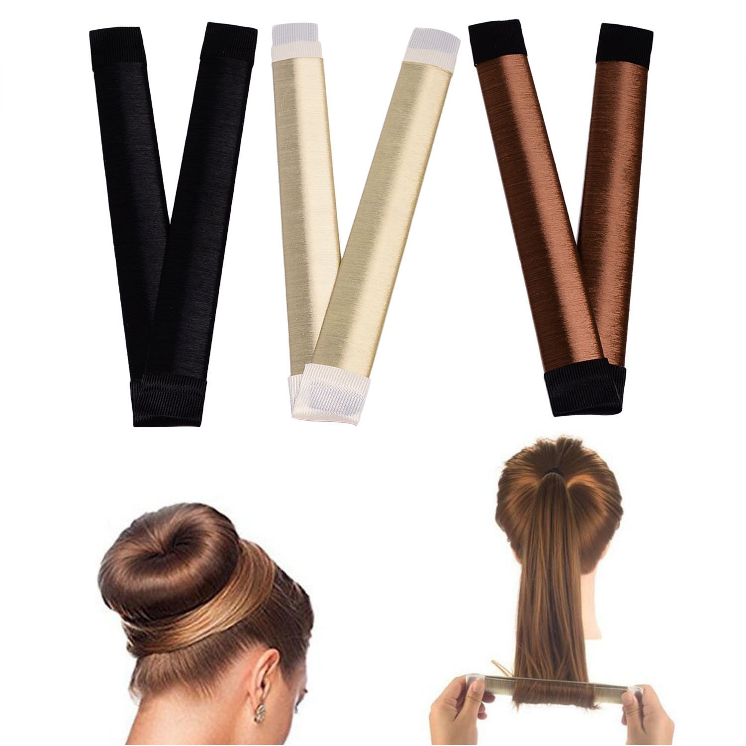 Hair bun maker-3 Pack Hair bun dount+10 Piece Professional Multicolor Plastic Hair Clips+Hair rope, Hair Styling Making DIY Curler Roller Hairstyle Tools by haomiao (Image #8)