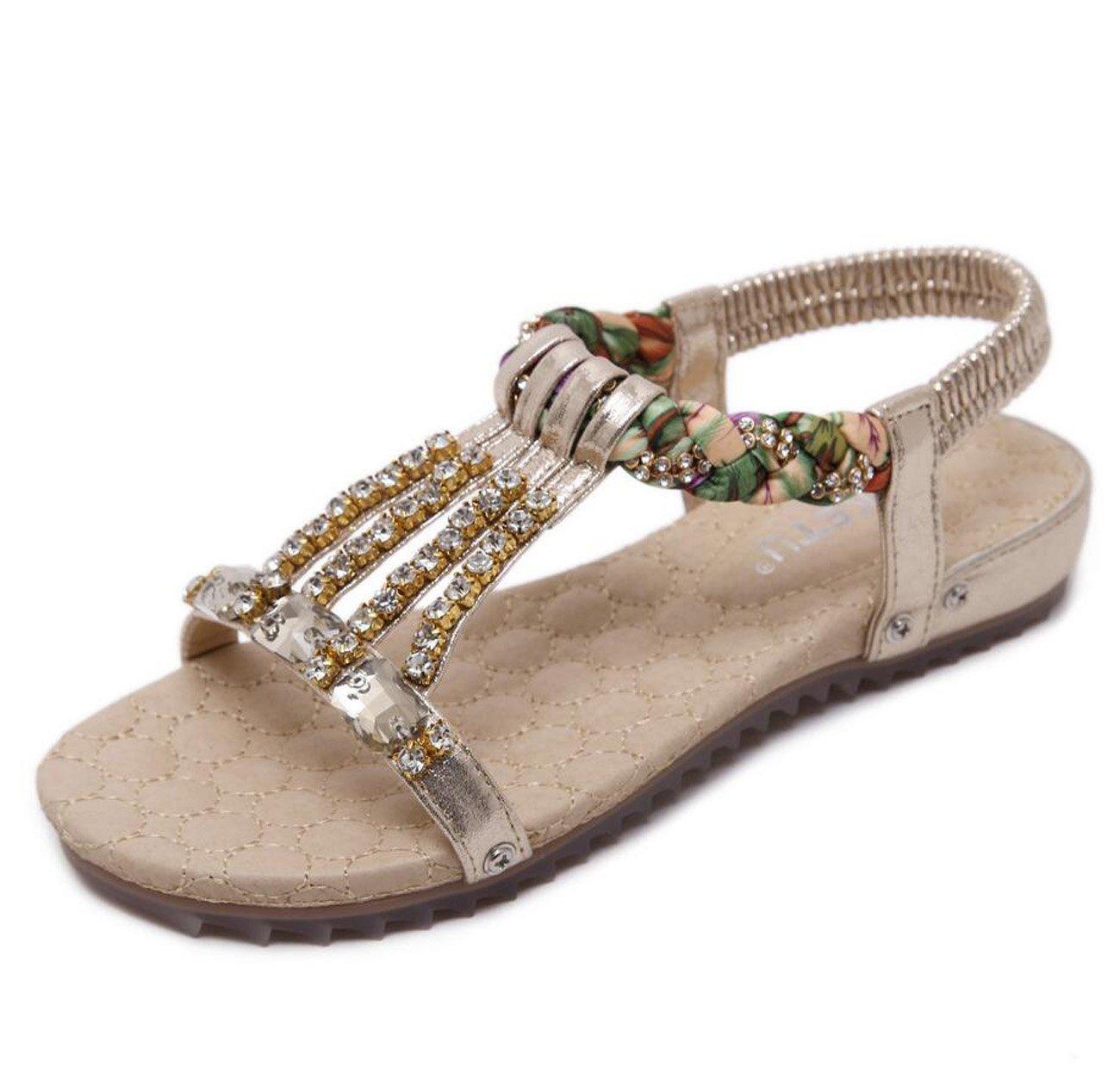 Femmes bohème tongs perlé cheville T-Strap sangle 19218 sandales Boho plage tongs élastiques T-Strap tongs sandales chaussures Gold e9b102e - shopssong.space