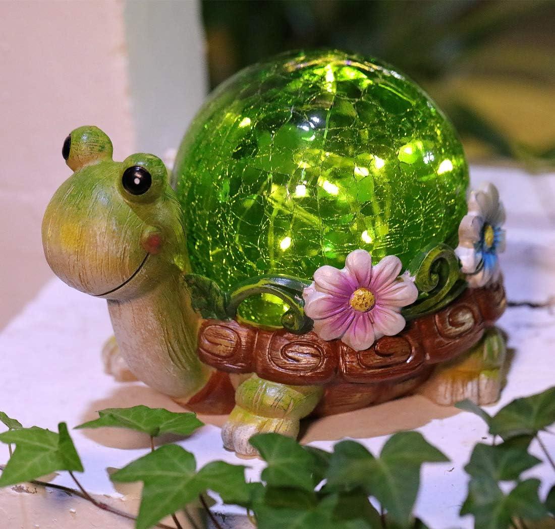 Cracked Glass Garden Statues Light,Solar Turtle LED Outdoor Decor Garden Light for Patio, Balcony, Yard, Lawn Decoration