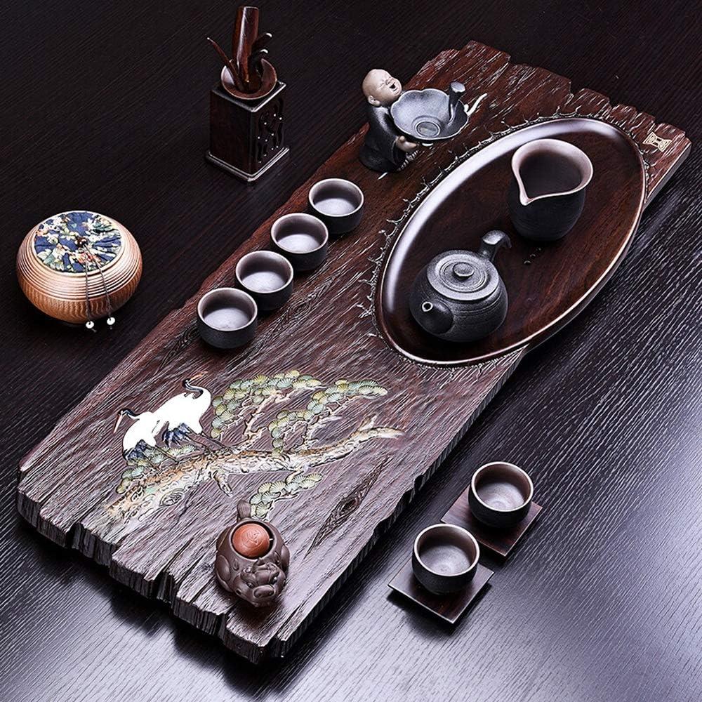 中国のカンフー茶トレイ ソリッドウッドTraditonalパイン白鶴トレイティーアクセサリーをサービング中国Gongfu茶をデザイン ミニカンフーティートレイ (Color : Black, Size : 76x30x4cm)