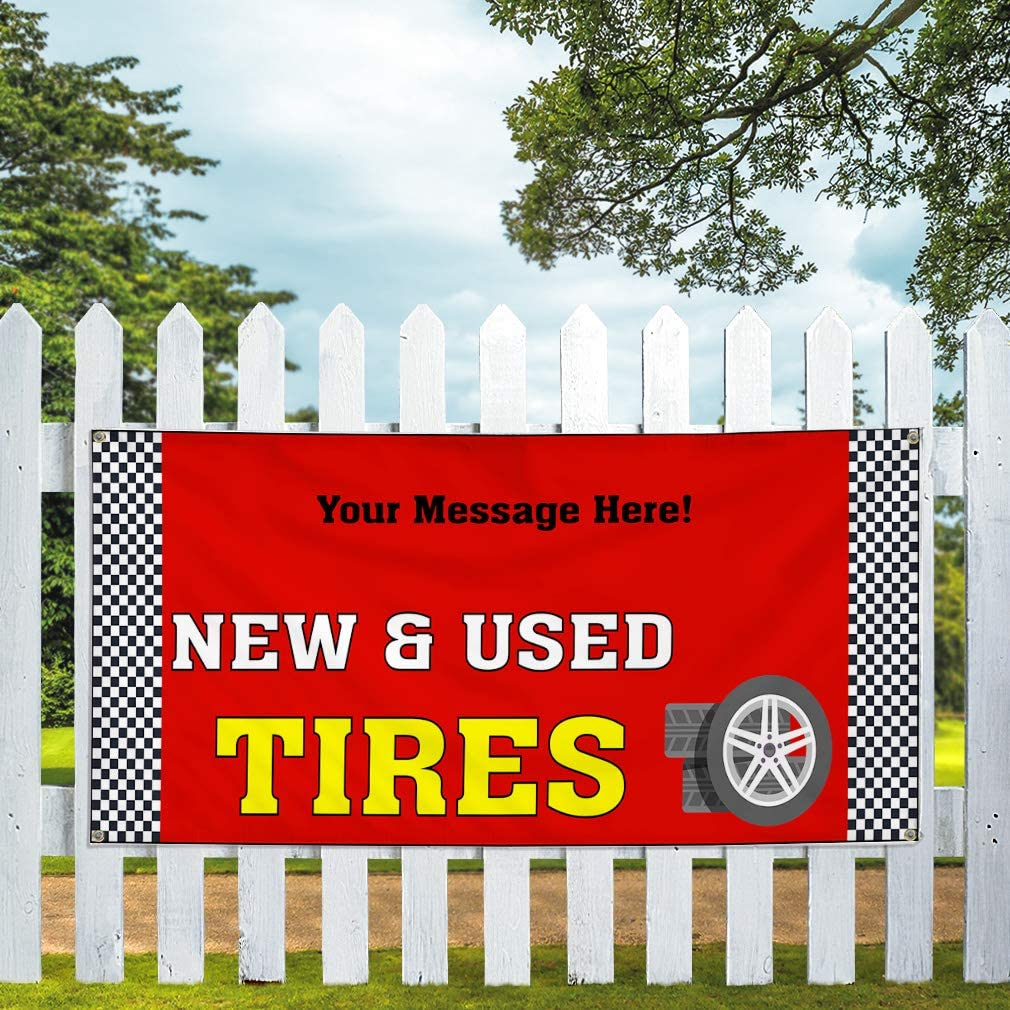 Custom Industrial Vinyl Banner Multiple Sizes New /& Used Tires Style G Personalized Text Here Automotive Outdoor Weatherproof Yard Signs Red 6 Grommets 32x80Inches