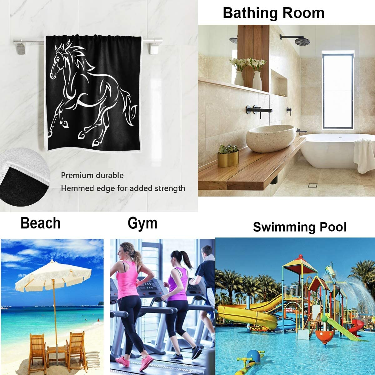 WIHVE Hand Towel White Running Horse Black Face Towel Soft Absorbent Guest Towel for Bath Gym Spa 16 x 30 Inch